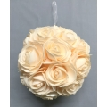 Hanging Foam Rose Ball Cream 8""