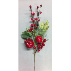 Red Apple/Pomegranate/Berry/Leaf Spray 18""