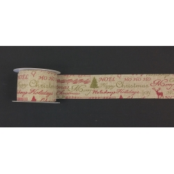 "Xmas Ribbon Natural Wired 2.5"" 10y"