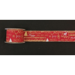 "Xmas Ribbon Red Wired 2.5"" 10y"