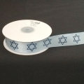 "Satin Lt. Blue w/Royal Blue Star of David 1"" 25y."
