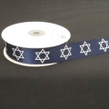 "Satin Navy Blue w/White Star of David 1"" 25y."