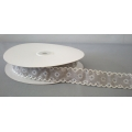 "Vintage Floral Ribbon w/Scalloped edge Grey 1"" 25y"