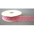 "Vintage Floral Ribbon w/Scalloped edge Pink 1"" 25y"