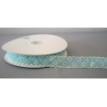 "Vintage Floral Ribbon w/Scalloped edge Teal 1"" 25y"