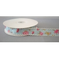 "Vintage Floral Ribbon w/Scalloped edge Blue 1"" 25y"