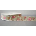 "Vintage Floral Ribbon w/Scalloped edge Moss 1"" 25y"