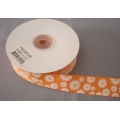 "Grosgrain Floral Print Ribbon Orange 1"" 20y"