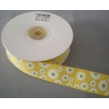 "Grosgrain Floral Print Ribbon Yellow 1"" 20y"