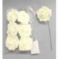 """Foam Rose White 3"""" (6)"""