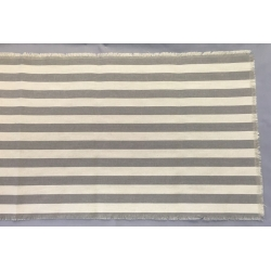 Linen Runner w/Solid Pewter Gray Stripes 14.5x108""